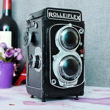 Vintage clásico desgastado película antigua rolleiflex cámara hecha a mano modelo artesanal para el hogar Café bar ornamentos Decoración