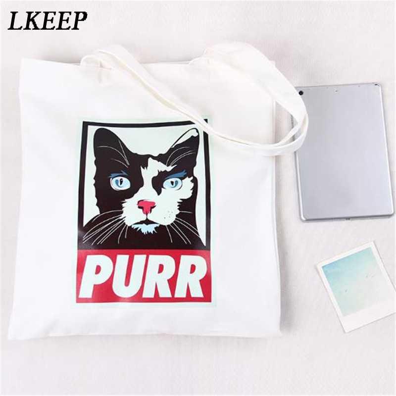 Bolso de mano de lona para mujer de tela de dibujos animados blanco Cruz cuerpo bolso de hombro nuevo lindo gato perro bolsas de compras para fiesta femenina bolso