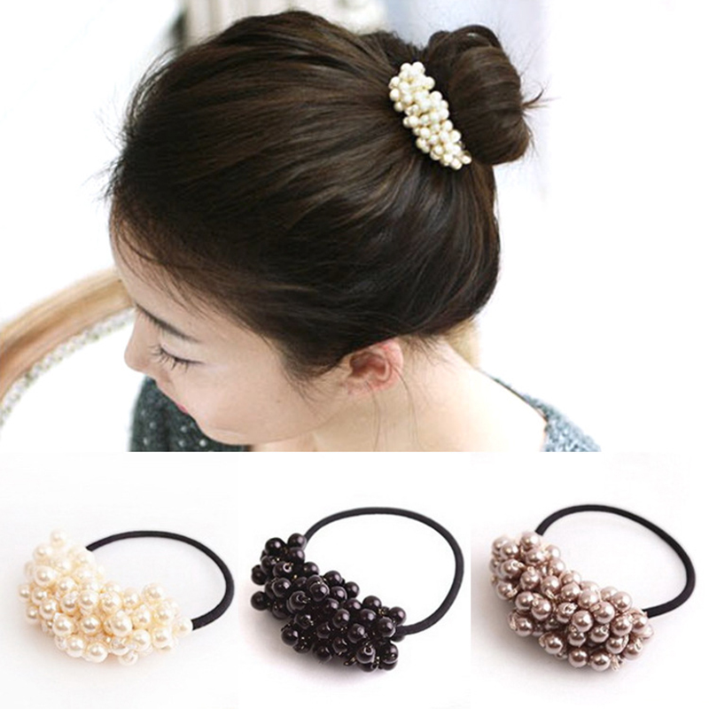 Men's Headbands Meaneor 1pc Fashion Korean Women Pearls Beads Hair Band Rope Scrunchie Ponytail Holder Pearl Hair Band Solid Elastic Hair Bands Men's Accessories