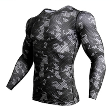 Compressed Camouflage Long Sleeve Shirt Mens Tight T-Shirt Fitness 3D Quick-drying Clothes MMA Rashguard