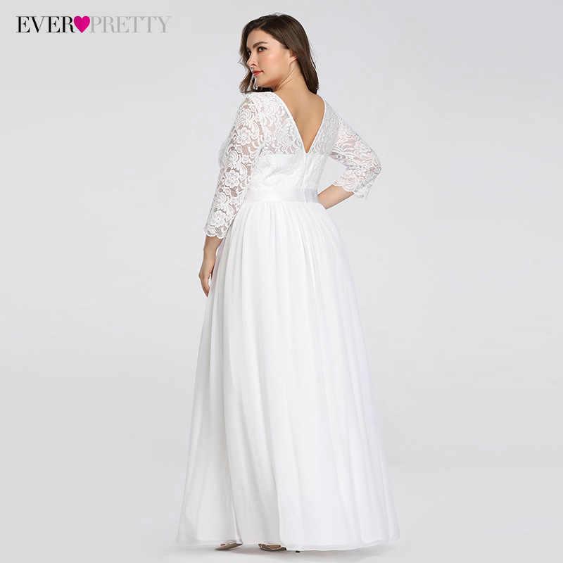 בתוספת גודל שמלות כלה אלגנטית אונליין תחרה ארוך חוף בציר כלה שמלה עם שרוול פעם די EP07412 Vestido דה Noiva