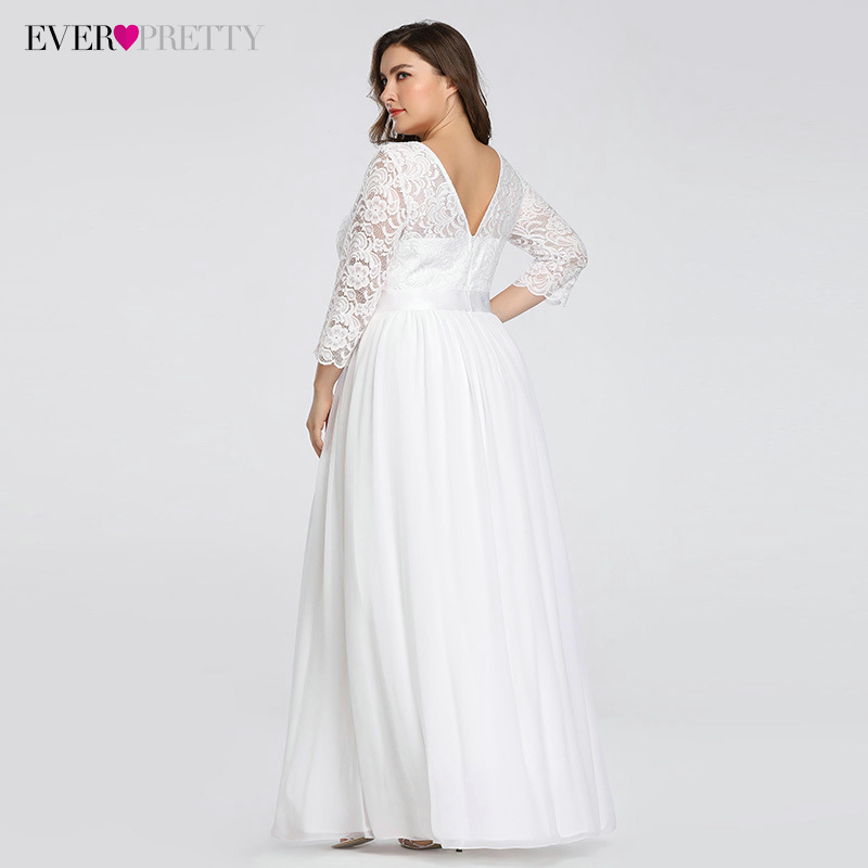 Plus Size Wedding Dresses Elegant A-Line Lace Long Beach Vintage Bridal Dress with Sleeve Ever Pretty EP07412 Vestido de Noiva