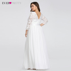 Plus Size Wedding Dresses Elegant A-Line Lace Long Beach Vintage Bridal Dress with Sleeve Ever Pretty EP07412 Vestido de Noiva 2