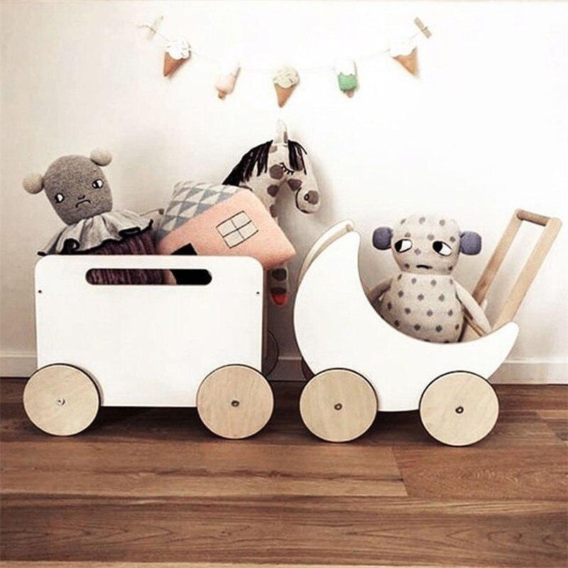 Prop Fotografia Recien Nacido INS Nordic Children's Room Toy Wood Basket Hand Roller Doll Trolley Baby Girl Props Photography