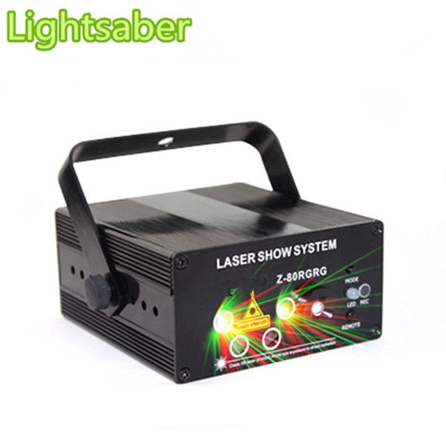 New 5 hole 80 pattern red and green RGRG Double laser Voice + remote control laser stage lights flash KTV bar dj light disco