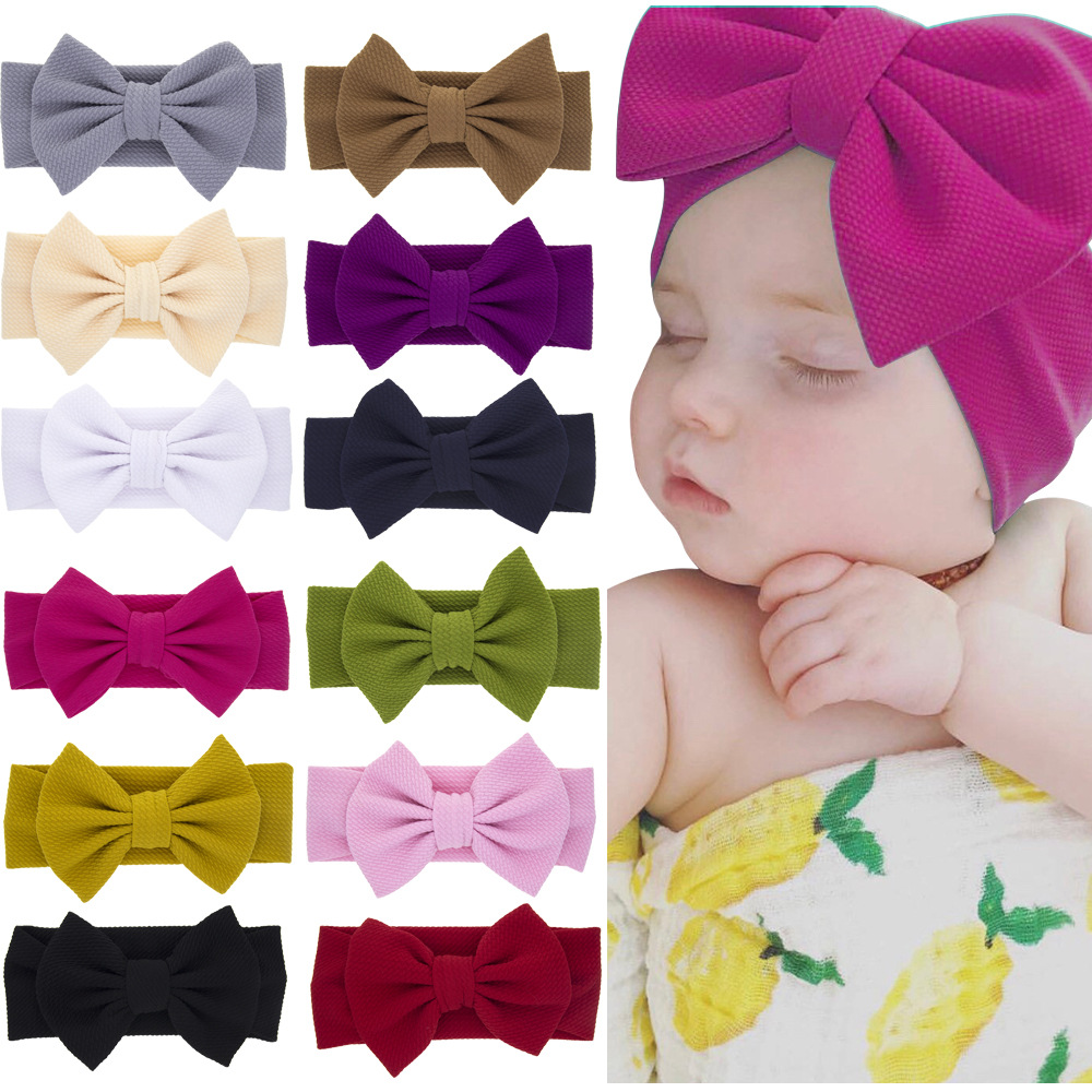 New Girls Baby Bow Turban Headband Fashion Solid Color Toddler Baby Hair Accessories Cute Flower Bow Knotted Hair Bands Headwear