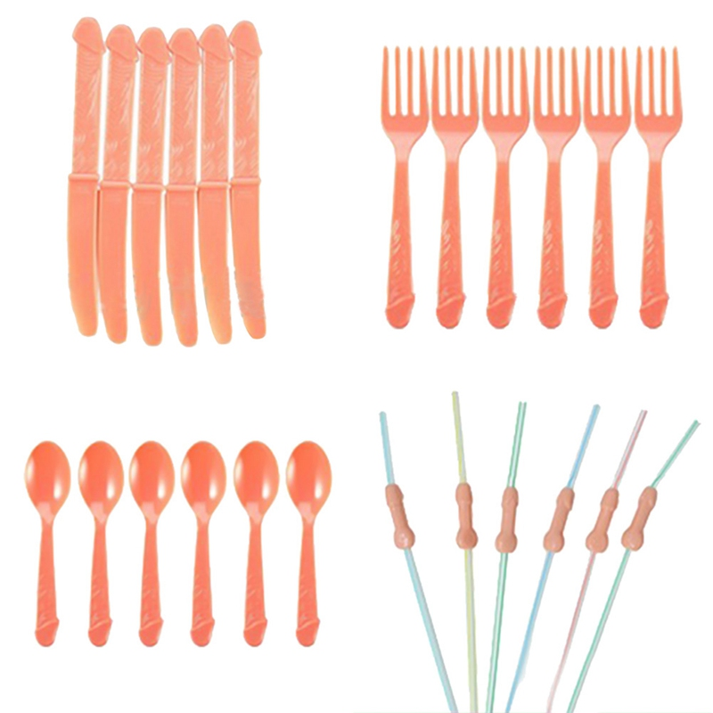 Single Party Tableware Fork Knife Spoon Table Birthday Wedding Bachelorette Party Party Tableware