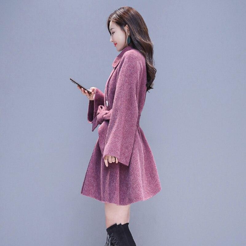 Double Femmes À Chaud 2018 Manteau Femelle Moyen En Hiver Laine Boutonnage Long grey Veste Mode De Survêtement Automne Purple OwC8Hqw