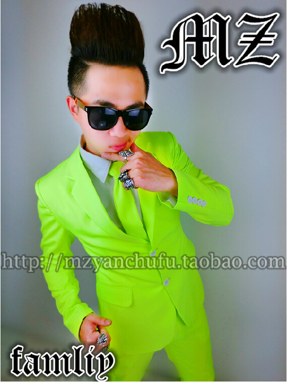S 4XL 2018 men's slim fashion singer dance neon lemon yellow Fluorescent green costume suit top formal dress