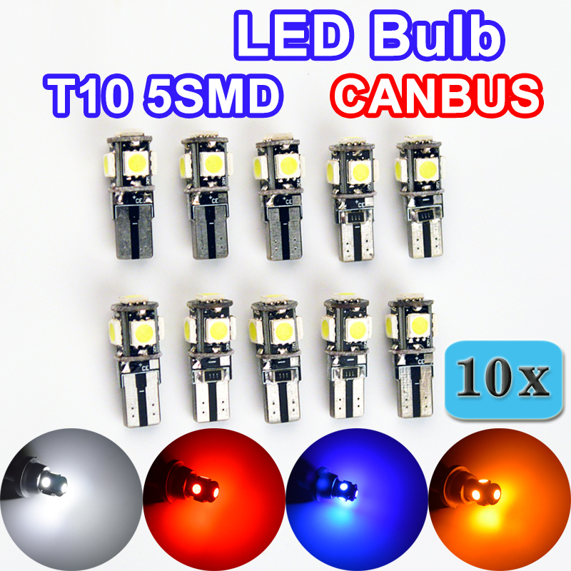 Flytop 10 x T10 CANBUS 5SMD 5050 SMD Error Free Car Bulb W5W 194 LED Lamp Auto Rear Light White / Blue / Yellow / Red Color