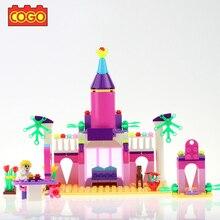 COGO Pink Princess Castle Building Blocks Cinderella Castle Model Building Figure Girl Block Bricks Toy Compatible With Friends