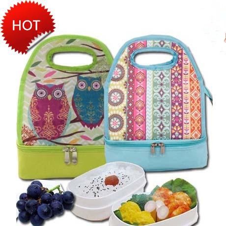 cartoon printed 2-Layer Thermal Lunch cooler Bag Fabric owl printing Insulated storage bag forTravel waterproof