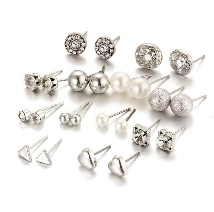 High Quality 12 pair/set Trendy Style Square Crystal Heart Stud Earrings for Women Piercing Simulated Pearl Flower Earring gift