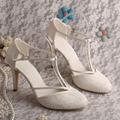 На Заказ Высокий Каблук Т-ремень Обувь Свадебные Кот Кружева Свадебная Обувь Лето