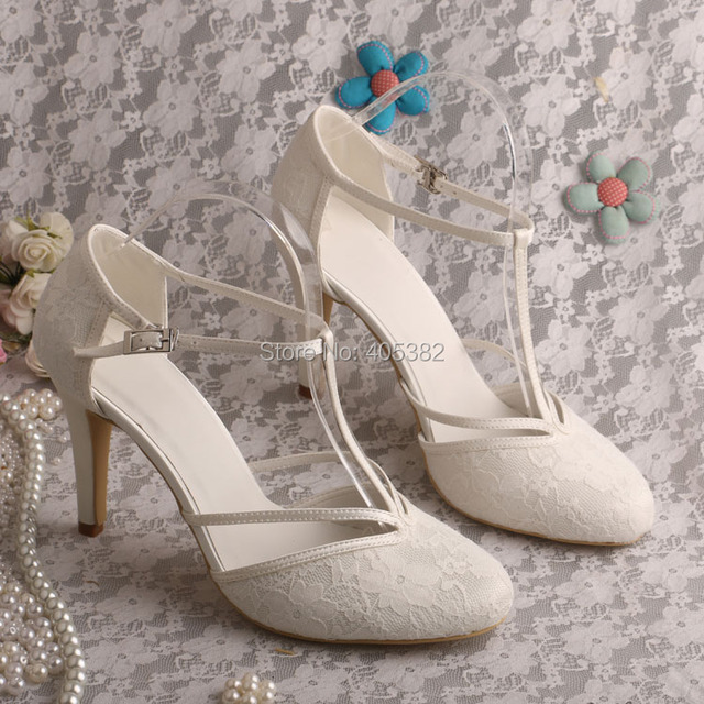 Custom Made High Heel T-strap Shoes Wedding Ivory Lace Bridal Shoes Summer 32e46e16fdea