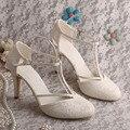 Personalizado Feito de Salto Alto T cinta-Sapatos Marfim Rendas sapatos de Noiva Sapatos de Casamento de Verão