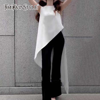 TWOTWINSTYLE Chiffon Shirt For Women Sleeveless Asymmetrical Large Size Dovetail Shirts Female 2019 Summer Fashion OL Clothing - DISCOUNT ITEM  44% OFF All Category