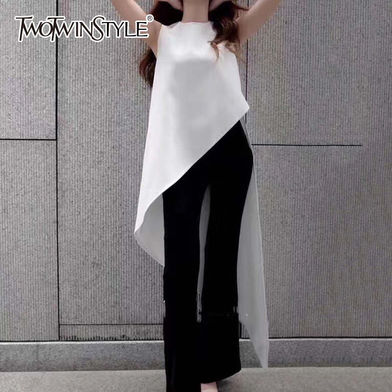 TWOTWINSTYLE Chiffon Shirt For Women Sleeveless Asymmetrical Large Size Dovetail Shirts Female 2020 Summer Fashion OL Clothing
