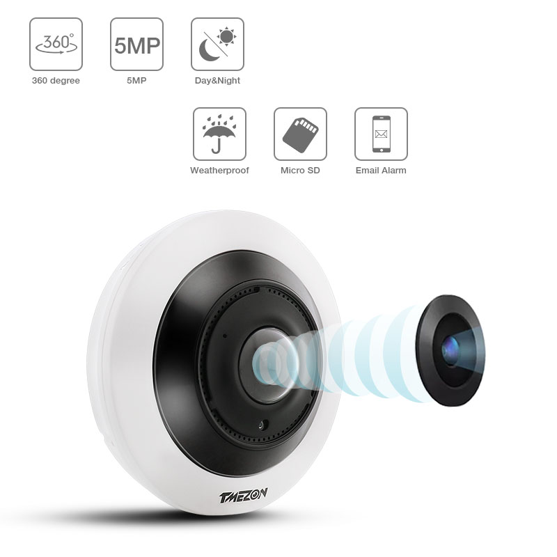 TMEZON 5,0 мегапиксельная ip безопасности Камера 360 градусов VR панорамный Камеры Скрытого видеонаблюдения с ИК Ночное видение обнаружения движе