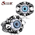 steel soldier New Design High Quality Claw Fake Eye Ring Men's Punk Party Jewelry Best Gift Wholesale Cheap PriceBR8-203