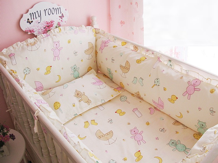 Promotion! 6/7PCS Crib Baby Bedding Set animal Nursery Bedding Cot Bedding Crib Bumper , 120*60/120*70cm promotion 6 7pcs cartoon crib baby bedding set baby nursery cot bedding crib bumper quilt cover 120 60 120 70cm