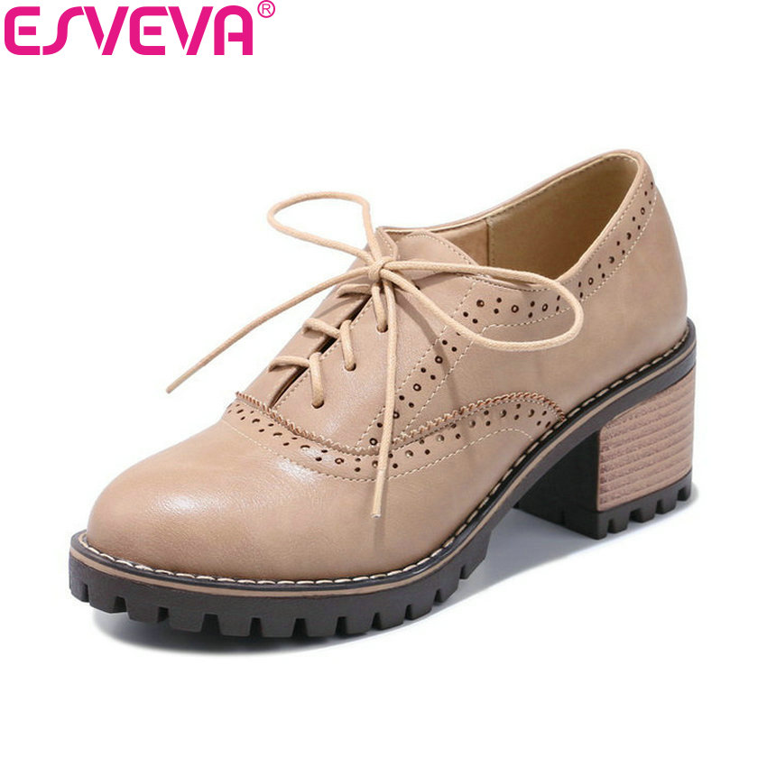 ESVEVA 2020 Women Pumps Lace Up Spring And Autumn Platform 2cm Black Square High Heels Round Toe Casual Ladies Shoes Size 34-43