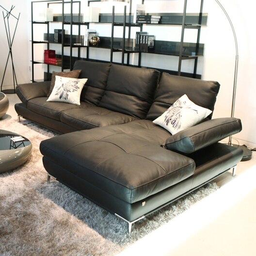 Топ Корова Натуральная кожа диван в разрезе, гостиная диван углу дома мебель диван L формы функциональной спинки современный стиль ...
