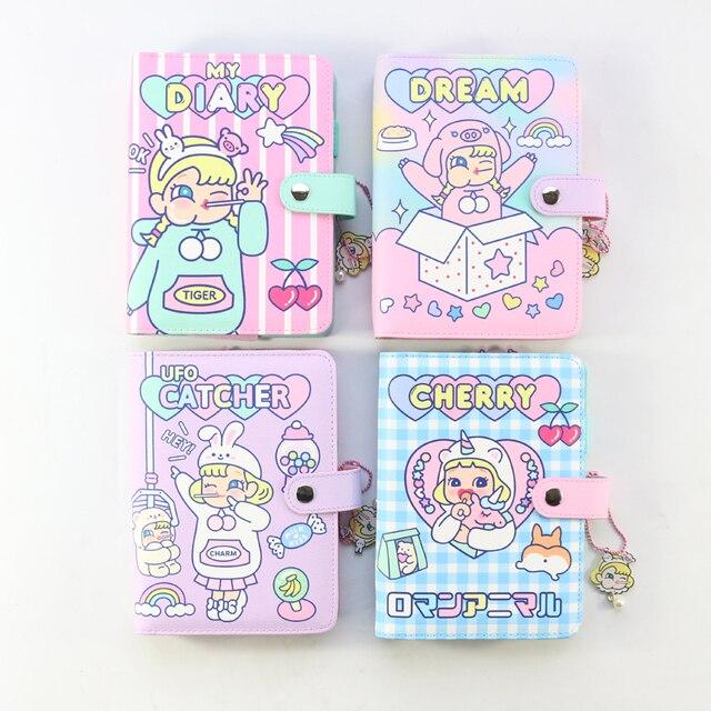 Domikee キャンディかわいい韓国ハードカバー革 6 リングスパイラルバインダープランナーノートブック、かわいい学校のノートブックやジャーナル