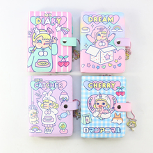 Domikee candy kawaii Korea hardcover leather 6 rings spiral binder planner notebooks,cute school notebooks and journals for girl
