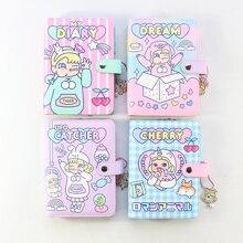 Domikee şeker kawaii kore ciltli deri 6 halka spiral binder planlayıcısı notebooklar, sevimli okul defterleri ve dergiler kız için
