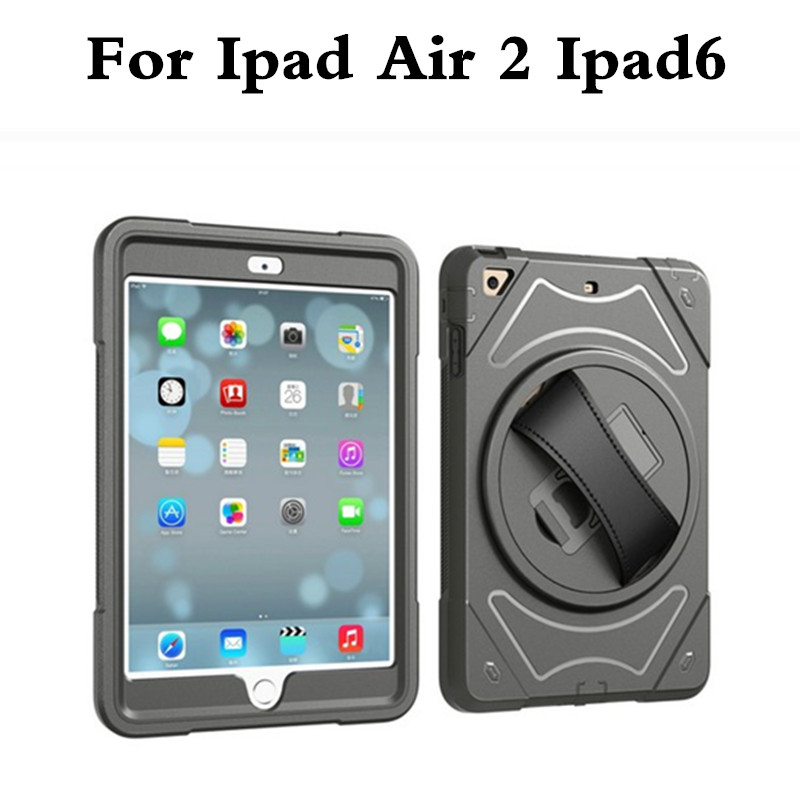 With Hand Strap Case Hybrid Armor For iPad Air 2 Kids Safe Shockproof Heavy Duty TPU Hard Back Case Cover For ipad air2 ipad6 for ipad air case 360 full shockproof heavy duty silicone hard cover 3 in 1 protection stand case for ipad 5 ipad 9 7 2017 case