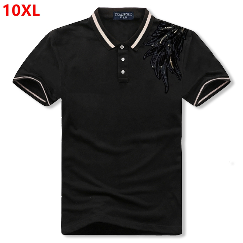 Super extra large plus size tide brand   Polo   Shirts 10XL 9XL loose cotton lapel short sleeve   POLO   shirt embroidery men's clothing