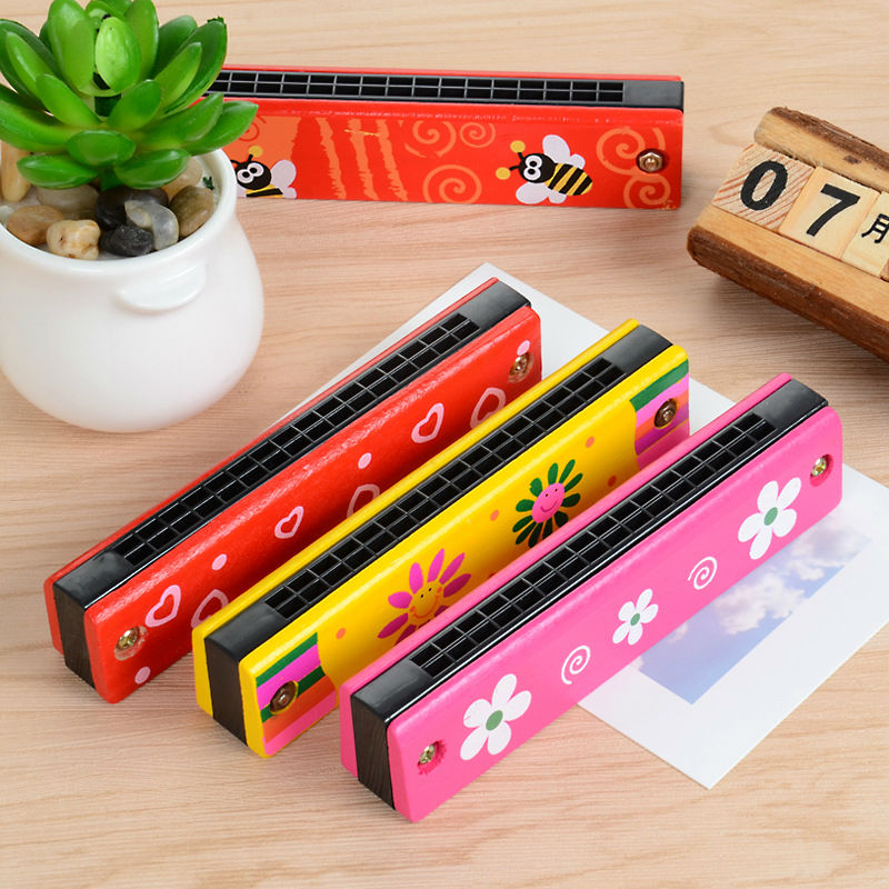 Free shipping Childrens Wood Music Wooden toy harmonica 2-4 PCS set, Kids Classic wooden Toys Baby Rattles & Mobiles toy/gift