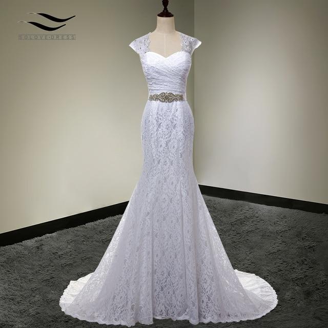 2017 Bridal Gown Real Photos White Cheap Mermaid Lace Wedding ...
