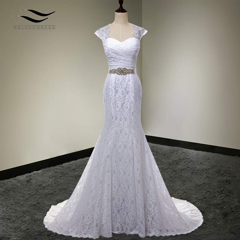 Bridal Gown Real Photos White Cheap Mermaid Lace Wedding Dress Cap Sleeves Detachable With Sash vestido De noiva SLD-W000202
