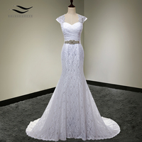 Bridal Gown Real Photos White Cheap Mermaid Lace Wedding Dress Detachable Cap Sleeves Back With Sash vestido De noivaSLD W000202