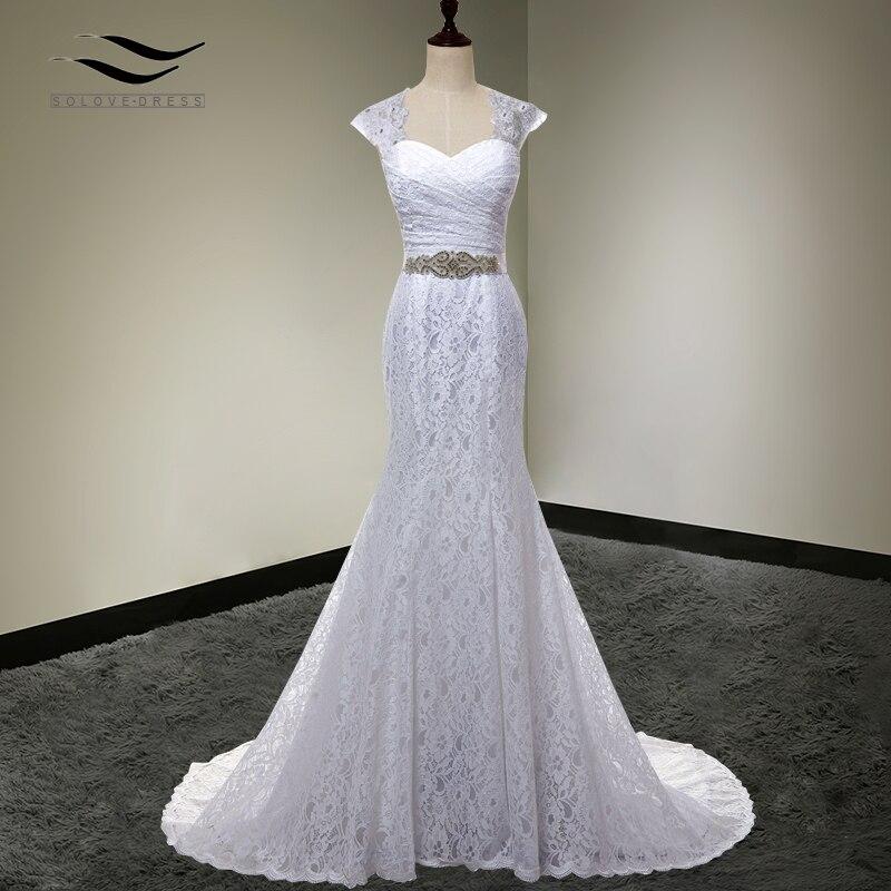 Robe De mariée vraies Photos blanc pas cher sirène dentelle robe De mariée détachable Cap manches dos avec ceinture vestido De noivaSLD-W000202