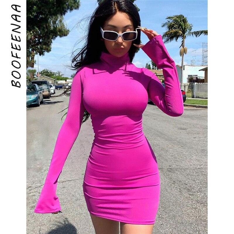 BOOFEENAA Sexy Party Night Club Dresses Women Flare Long Sleeve Turtleneck Mini Bodycon Dress 2019 Fall Vestido C83-AZ35