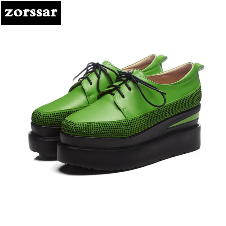 {Zorssar} 2018 New fashion Crystal womens Platform shoes heels Leisure Lace up Wedges High heels pumps women Creepers shoes zorssar brand 2018 new womens creepers shoes heels casual wedges high heels pumps shoes fashion suede women platform shoes