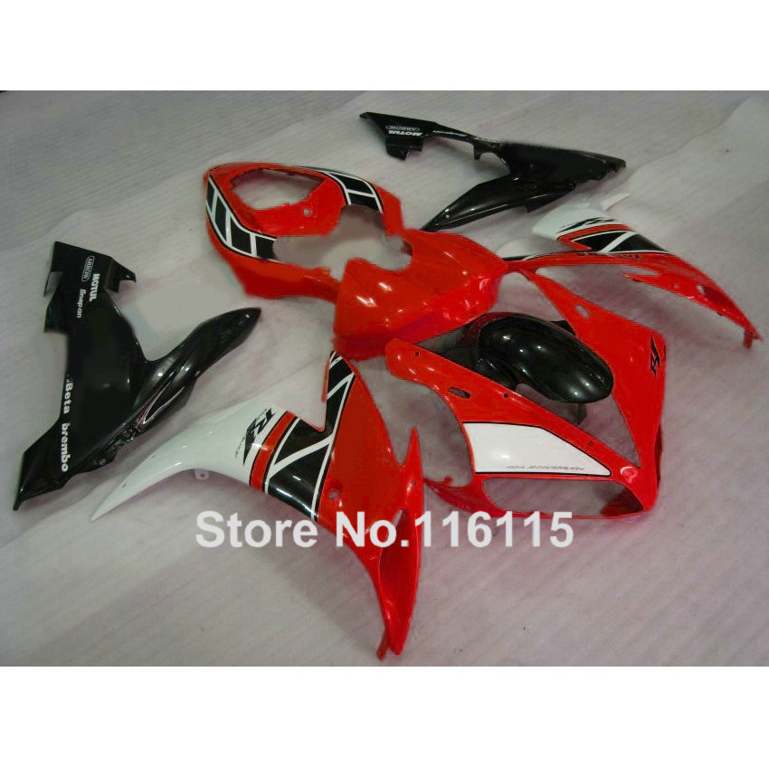Injection molding hot sale ABS fairing kit for YAMAHA YZF R1 2004 2005 2006 red black white YZF-R1 04 05 06 fairings set XL55 high quality abs fairing kit for yamaha r1 2002 2003 red flames in black fairings set injection molding yzf r1 02 03 yz32