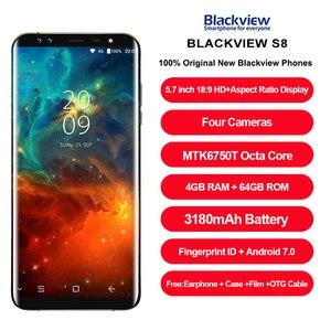 "Image 2 - Blackview S8 4 デュアルカメラスマートフォン 5.7 ""18:9 アスペクト比インフィニティスクリーンプロテクター 4 ギガバイト + 64 ギガバイト MTK6750T オクタコア指紋 4 グラム携帯電話"