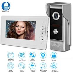 7 vídeo porteiro com fio casa sistema de entrada de porta de vídeo à prova drainágua à prova de chuva câmera de visão noturna ir áudio bidirecional com 1or2 monitor