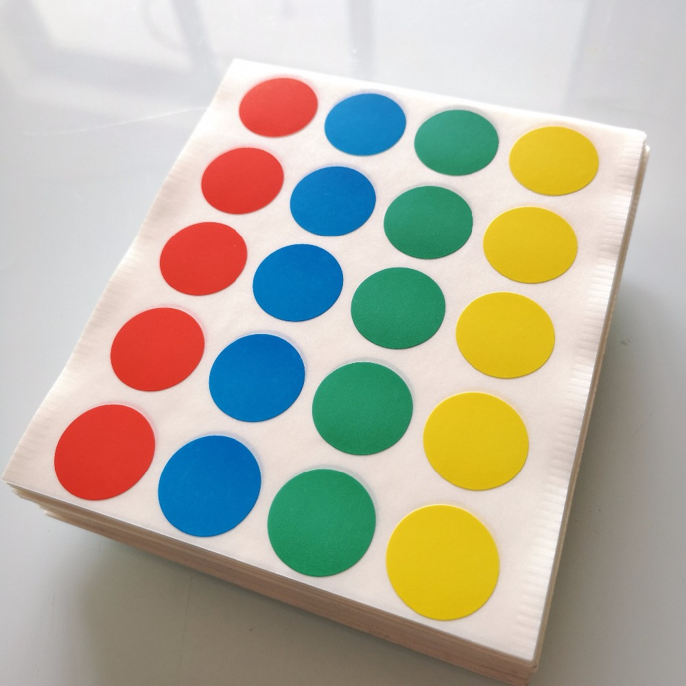 2000 sheets diameter 20mm Colorful round paper sticker mixed red blue green yellow Item No OF08