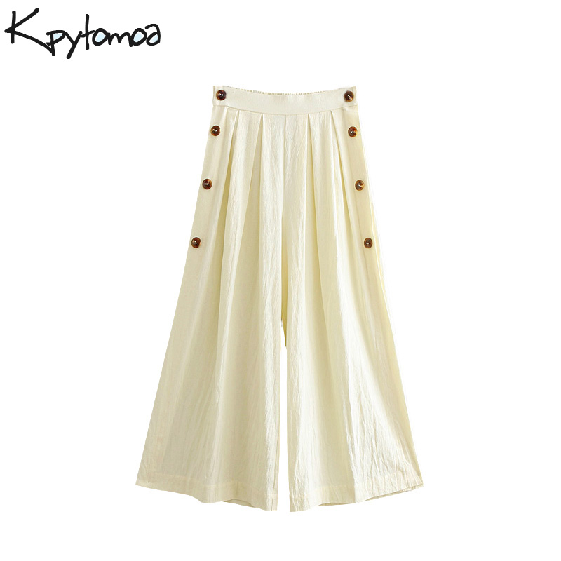 Vintage Buttoned Culottes   Wide     Leg     Pants   Women 2018 New Fashion Elastic Waist Pockets Streetwear Trousers Casual Pantalon Mujer