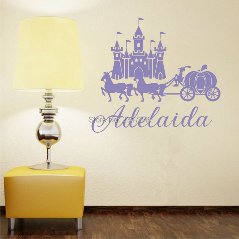 Personalized Castle Horse Pumpkin Cart Wall Decal Custom Name Sticker for Girls Room Decoration
