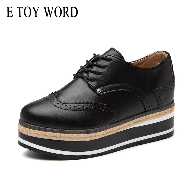 E TOY WORD Women Platform Brogue Shoes Leather Lace-up Round Toe Ladies Black White Oxford Creepers Flat Casual Shoes Fashion big size high heels round toe women platform shoes cool casual white lace wedge black creepers medium pumps mesh chinese fashion