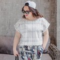 White Plaid T-shirts 2016 New Summer Tops Plus Size 3XL Casual O-neck Women's Short Sleeve T-shirts TY038