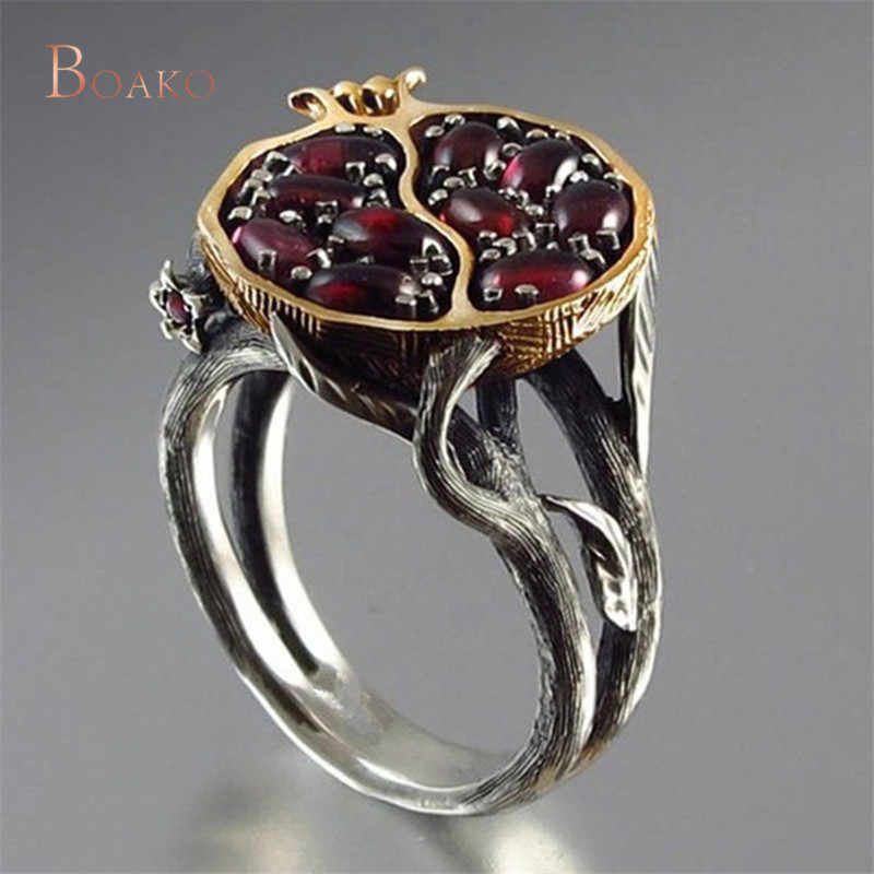 Vintage Round Gold Color Natural Red Garnet Ring Crystal Rhinestone Stone Leaf bague Pomegranate Jewelry Rings for Women Z4