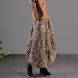 Image 2 - Mùa thu Mùa Đông Váy Retro Phụ Nữ Đàn Hồi Eo Váy Lỏng Lẻo In túi Dày Hơn Ấm Áp Phụ Nữ Pha Trộn Váy Giản Dị 2018