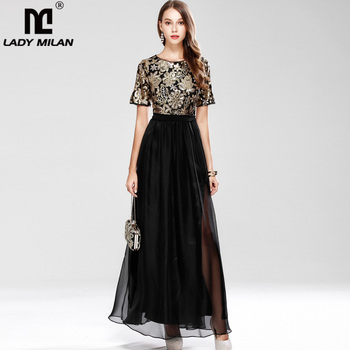 cd630807c Nueva llegada 2019 de las mujeres de cuello en O manga corta con  lentejuelas Patchwork moda fiesta elegante baile Maxi vestidos